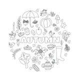 El otoño del vector garabatea la tarjeta Drenaje de la mano thanksgiving Imagen de archivo libre de regalías