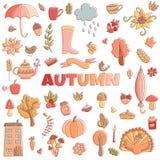 El otoño del vector garabatea la tarjeta Drenaje de la mano thanksgiving Foto de archivo