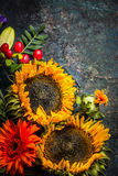 El otoño florece con los girasoles en el fondo rústico oscuro, visión superior Fotografía de archivo