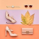 El otoño llega Señora Minimal de la moda Hojas de la caída fotos de archivo libres de regalías
