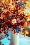 El otoño precioso florece el manojo en florero Decoración interior casera acogedora Todavía de la caída vida fotografía de archivo