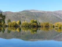El otoño reflector del lago colorea Nueva Zelanda fotos de archivo