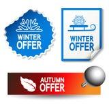 El otoño y el invierno ofrecen etiquetas engomadas Imágenes de archivo libres de regalías