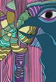 El pájaro azul del bosque con ojos grandes P?jaro tropical libre illustration
