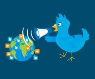 El pájaro azul está gritando a través de un megáfono en libre illustration