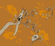 El pájaro con la cola larga sienta una rama stock de ilustración