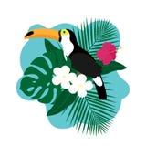 El pájaro exótico del tucán, hibisco colorido florece el flor y las hojas tropicales stock de ilustración