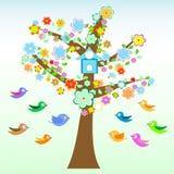 El pájaro y el árbol con las flores y las hojas cardan vector Foto de archivo