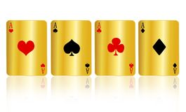 El póker carda el oro Foto de archivo libre de regalías