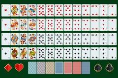 El póker carda el sistema completo Diseño plano Póker fijado con las tarjetas en fondo verde Imagen de archivo