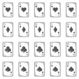 El póker carda iconos del vintage en estilo monocromático Combinación real de destello Fotografía de archivo