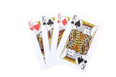 El póker carda a reyes Fotos de archivo libres de regalías