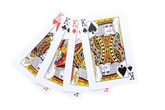 El póker carda a reyes Foto de archivo libre de regalías