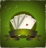El póker del casino Aces la bandera Foto de archivo