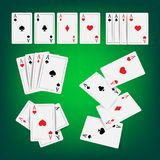 El póker del casino carda vector Obra clásica que juega el ejemplo realista de juego de las tarjetas ilustración del vector