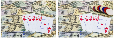 El póker del efectivo carda el collage de los microprocesadores del jugador Imagen de archivo libre de regalías