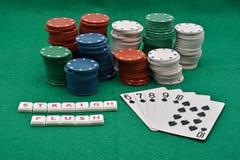 El póker que gana juega, rubor del straigh fotos de archivo libres de regalías