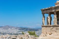 El pórtico de las cariátides, el Erechtheum, acrópolis de Atenas, foto de archivo libre de regalías