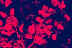 El p?jaro del ?rbol y las pinturas hermosos del arte de las flores colorean rosa y fondo y papel pintado negros del modelo del ej ilustración del vector