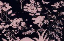 El p?jaro del ?rbol y las pinturas hermosos del arte de las flores colorean rosa y fondo y papel pintado negros del modelo del ej stock de ilustración