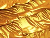 El paño de seda de oro del satén dobla el fondo Fotografía de archivo