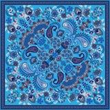 El pañuelo de Paisley del ornamento del vector imprime, la bufanda de cuello de seda o estilo cuadrado del diseño del modelo del  stock de ilustración