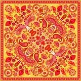 El pañuelo de Paisley del ornamento del vector imprime, la bufanda de cuello de seda o estilo cuadrado del diseño del modelo del  ilustración del vector