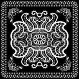 El pañuelo negro imprime, la bufanda de cuello o el pañuelo de seda Foto de archivo