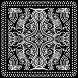 El pañuelo negro imprime, la bufanda de cuello o el pañuelo de seda Fotografía de archivo libre de regalías