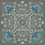 El pa?uelo floral del bordado del ornamento del vector imprime, la bufanda de cuello de seda o estilo cuadrado del dise?o del mod stock de ilustración