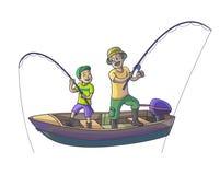 El padre con su hijo está pescando con el barco Foto de archivo libre de regalías