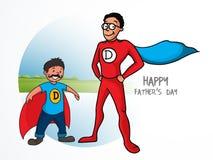El padre y el hijo en superhéroe se visten para el día de padre stock de ilustración