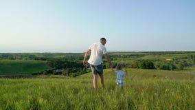 El padre y la hija comparten el amor que lleva a cabo las manos que caminan juntos en alto campo de hierba almacen de metraje de vídeo