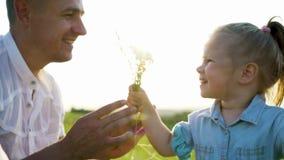 El padre y la hija comparten las flores que huelen del amor juntas en alto campo de hierba almacen de metraje de vídeo