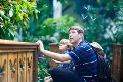 El padre y el preescolar embroman al muchacho que descubre las flores, las plantas y las mariposas en el jardín botánico Fotografía de archivo libre de regalías