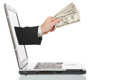 El pagar en línea Fotografía de archivo libre de regalías