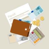 El pago de la contabilidad del sueldo de la nómina de pago emprende símbolo del icono de la calculadora del dinero Foto de archivo