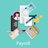 El pago de la contabilidad del sueldo de la nómina de pago emprende símbolo del icono de la calculadora del dinero Imagen de archivo