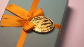 El pago modelo de Made As Litecoin miente en macro de la caja de regalo almacen de metraje de vídeo