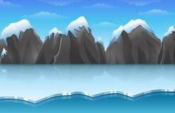 El paisaje ártico del hielo del invierno de la historieta con las montañas del iceberg y de la nieve oscila las colinas libre illustration