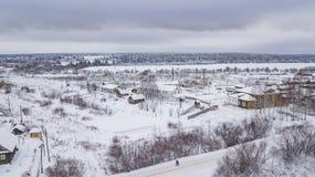 El paisaje aéreo, área de Veliky Ustyug es una ciudad en Vologda Oblast, Rusia imagenes de archivo