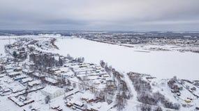 El paisaje aéreo, área de Veliky Ustyug es una ciudad en Vologda Oblast, Rusia foto de archivo