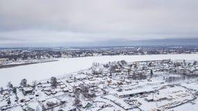 El paisaje aéreo, área de Veliky Ustyug es una ciudad en Vologda Oblast, Rusia imagen de archivo libre de regalías