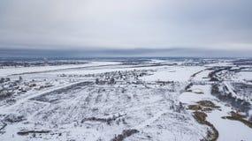 El paisaje aéreo, área de Veliky Ustyug es una ciudad en Vologda Oblast, Rusia fotografía de archivo