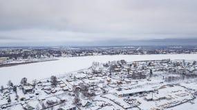 El paisaje aéreo, área de Veliky Ustyug es una ciudad en Vologda Oblast, Rusia fotos de archivo libres de regalías