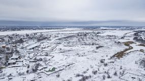 El paisaje aéreo, área de Veliky Ustyug es una ciudad en Vologda Oblast, Rusia imagen de archivo