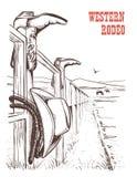El paisaje americano del rancho con el vaquero viste en la cerca Vector Han libre illustration