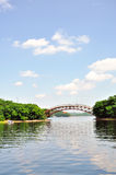El paisaje bajo el cielo azul Foto de archivo