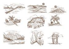 El paisaje bosqueja la montaña y el desierto salvajes del paisaje marino de la naturaleza ilustración del vector