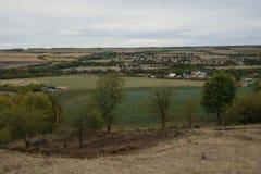 El paisaje checo nombró Chlumcany Toscana en el otoño del principio el 22 de septiembre de 2018 en la tarde imagenes de archivo